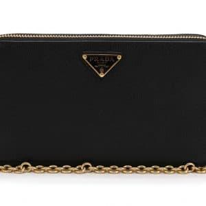 Prada Double-Zip Logo Shoulder Bag Black