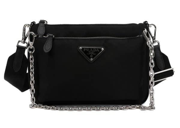 Prada Nylon Chain Link Shoulder Bag Black