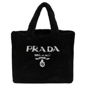 Prada Shearling Tote Bag Intarsia Logo Black/White